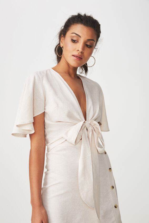 Coco Tie Front Linen Blend Top, ECRU MARLE