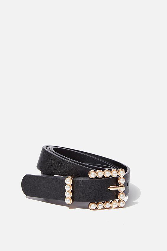 Pearl Buckle Belt, BLACK/GOLD PEARL