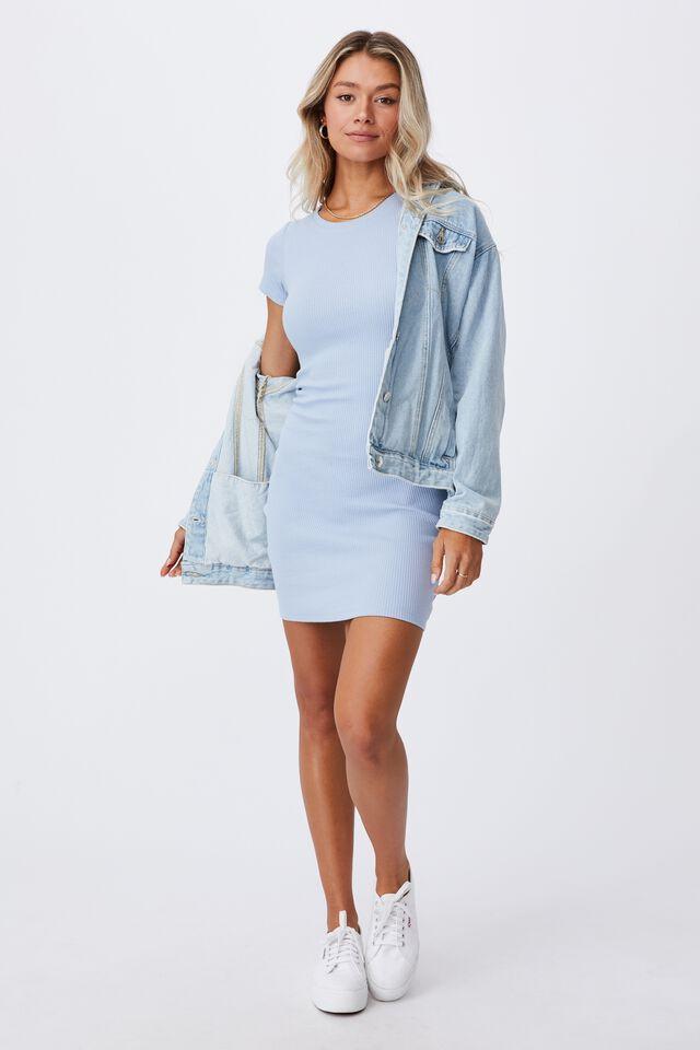 Lucia Rib Tee Mini Dress, HAZY BLUE