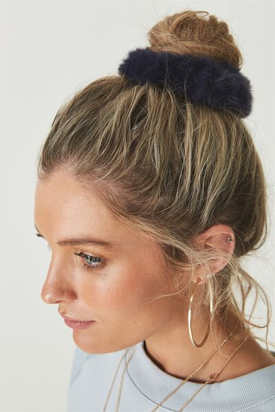 Faux Fur Scrunchie, NAVY BLUE