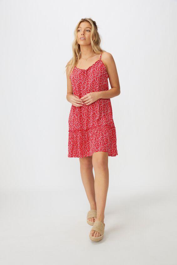 Olivia Tiered Frill Hem Dress, FLOWY FLORAL RED