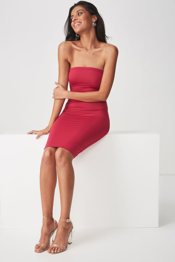 Party Strapless Midi Dress, SUMMER BERRY