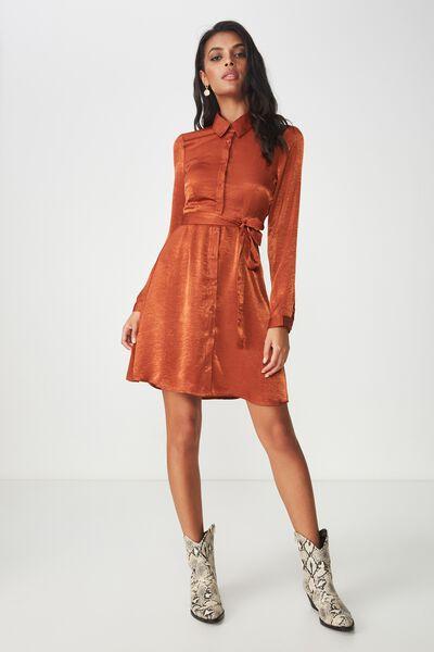 Paris Satin Shirt Dress, NUTMEG