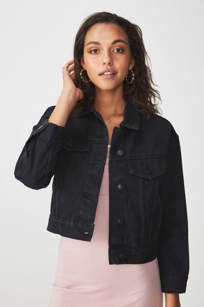 70S Cropped Denim Jacket, BLACK