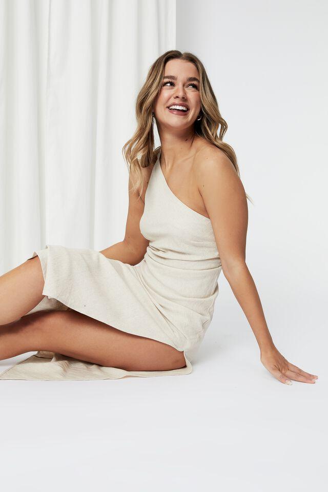 Kendall Linen Blend Maxi Dress, NATURAL
