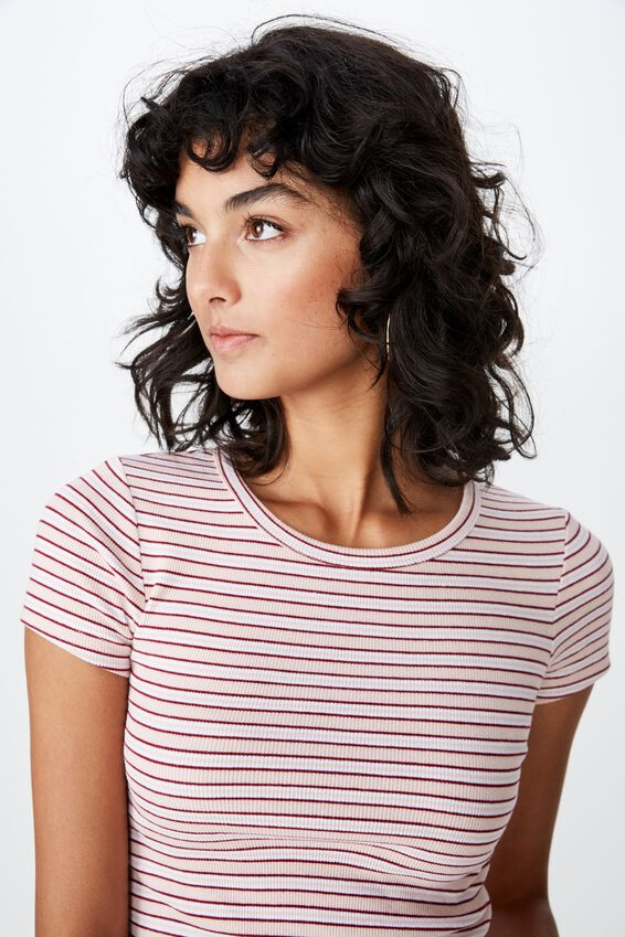Zoey Midi Length Rib Tee, DEMI STRIPE (DIVINE PINK/CHERRY WINE/WHITE)