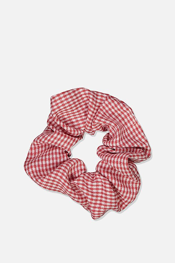 Gingham Scrunchie, TRUE RED