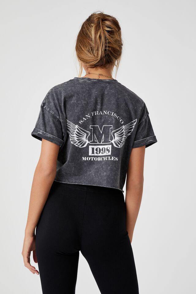 Tamara Printed Crop T Shirt, ACID WASH BLACK/MOTO WINGS