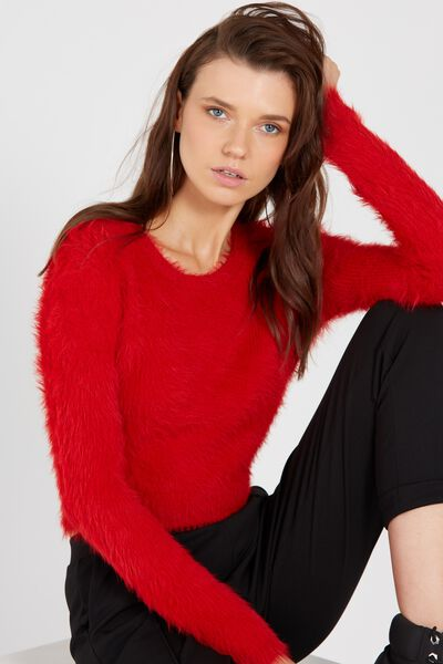 Brooke Fluffy Crop Knit Top, RED