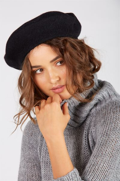 Tessa Beret Hat, BLACK
