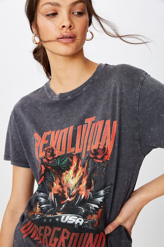 Revolution Tee, WASHED BLACK REVOLUTION UNDERGROUND