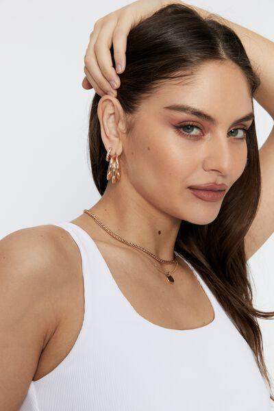 Loren Tri Hoop Earrings, GOLD