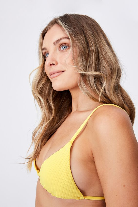 Maui Tri Slide Bikini Top, BUTTERCUP YELLOW/WIDE RIB