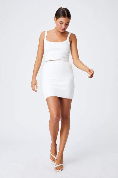 Melissa Fluffy Cami Co Ord, WHITE