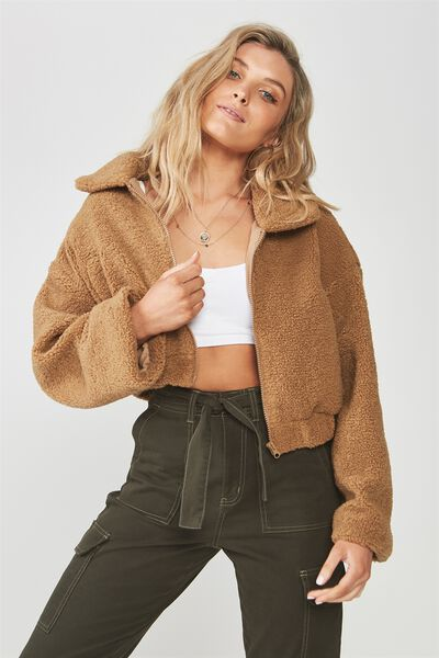 Cropped Teddy Jacket, BISCUIT