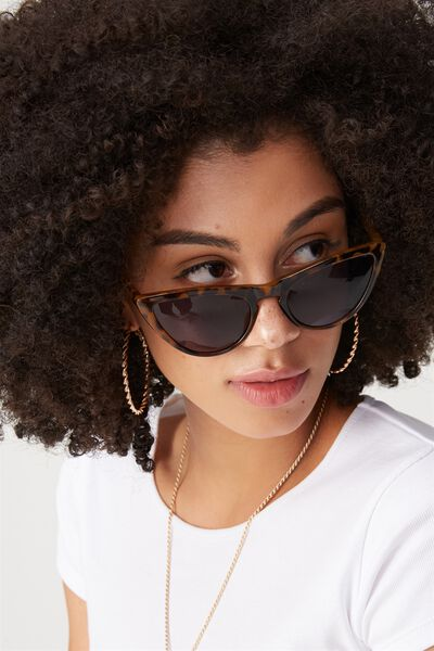 Zoe Soft Cat Eye Sunglasses, YELLOW TORT