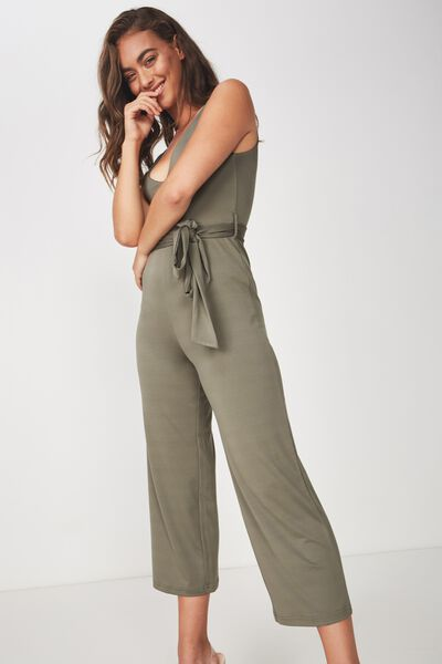 Deep V Neck Jumpsuit, GUM LEAF KHAKI