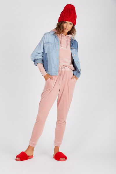 Velour Track Pant, LATTE ROSE