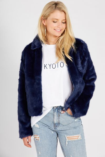 Crop Faux Fur Bomber, NAVY
