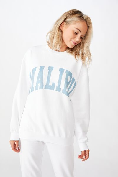 Tanisha Graphic Crew Sweat, WHITE/MALIBU