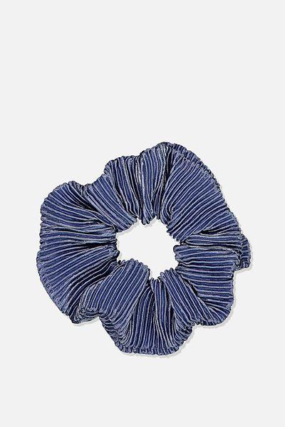 Plush Scrunchie, PLEATED STEEL BLUE