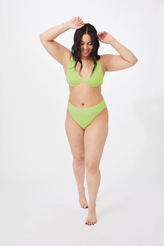 Santa Barbara High Waist Bikini Bottom, SOFT LIME/CRINKLE
