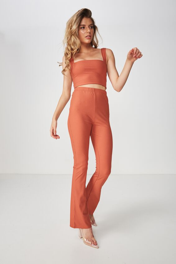 Party Set Flared Rib Pant, COPPER