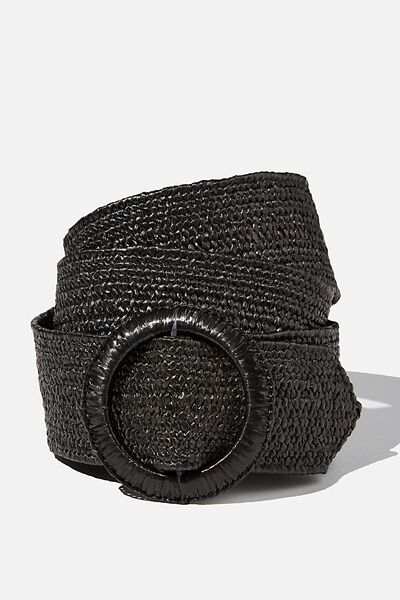 Circle Woven Belt, BLACK