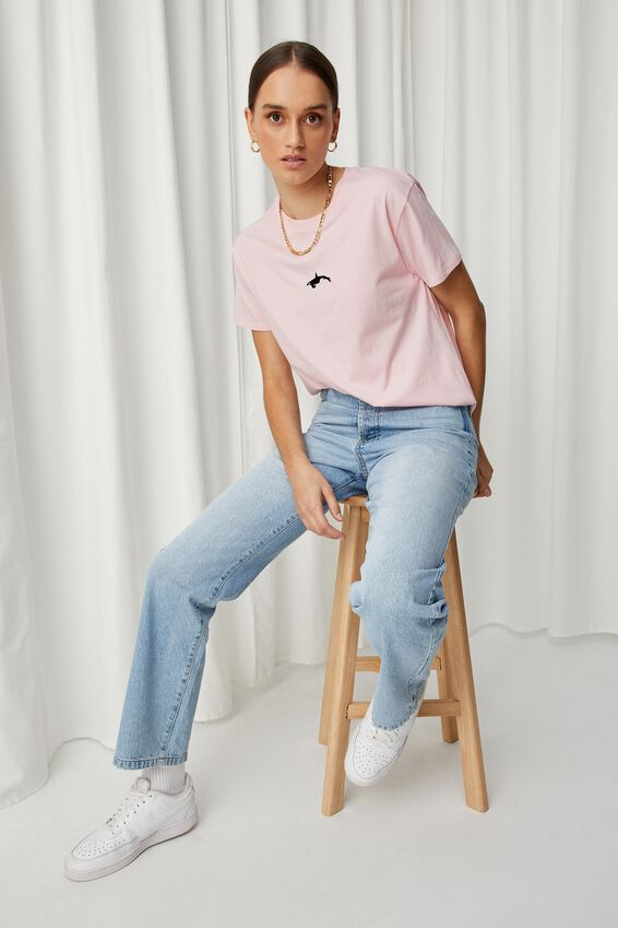 Lola Printed Longline T Shirt, PINK FROSTING/ORCA