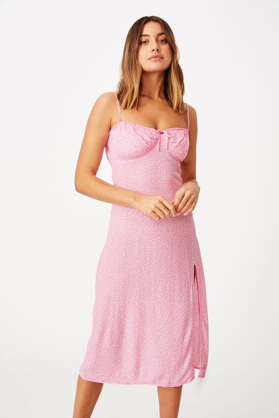 Juliet Split Front Midi Dress, CORA MONO FLORAL PINK