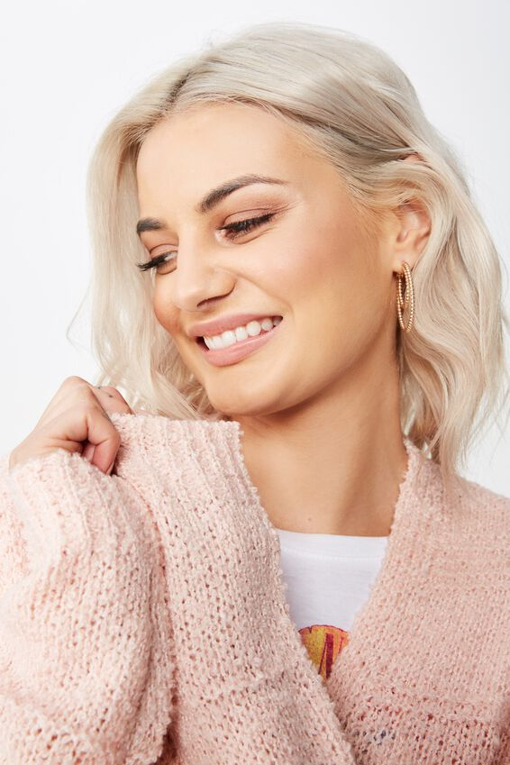 Lana Textured Knit Cardigan, DIVINE PINK