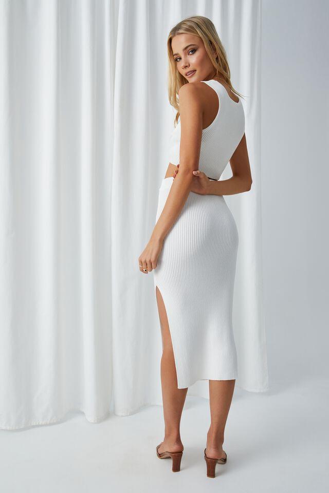 Leigh Midi Split Skirt, WINTER WHITE