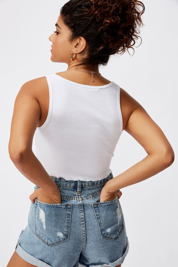 Kali Fitted Crop Tank, WHITE