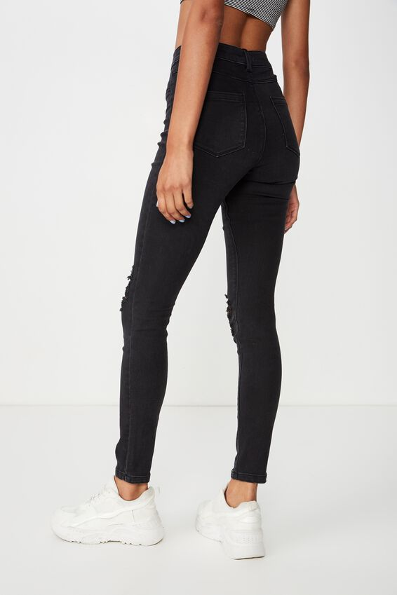Long Super Skinny Ripped Jean, WASHED BLACK