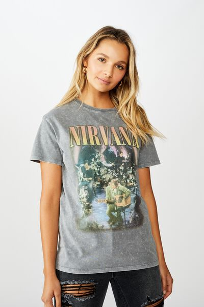 The Kendall Graphic Tee, DARK GREY WASH/LCN LIV NIRVANA BAND