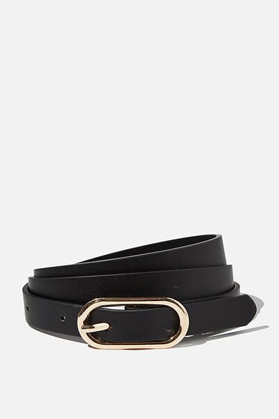 Mini Oval Belt, BLACK GOLD