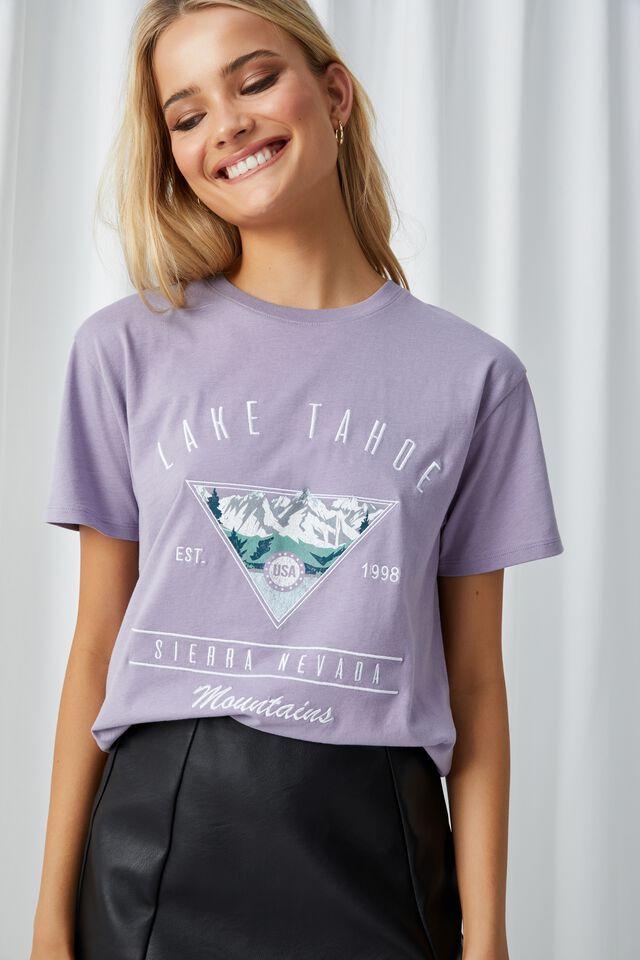 Lola Printed Longline T Shirt, CLOUDY LILAC/LAKE TAHOE