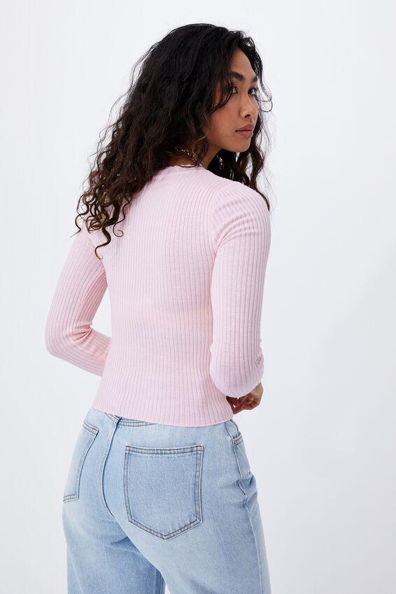 Regina V Neck Knit Top, CHIC PINK