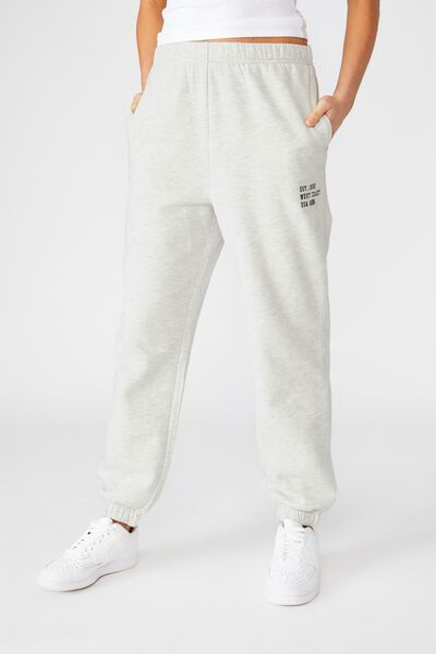 Melody High Waist Graphic Track Pant, LIGHT GREY MARLE/WEST COAST