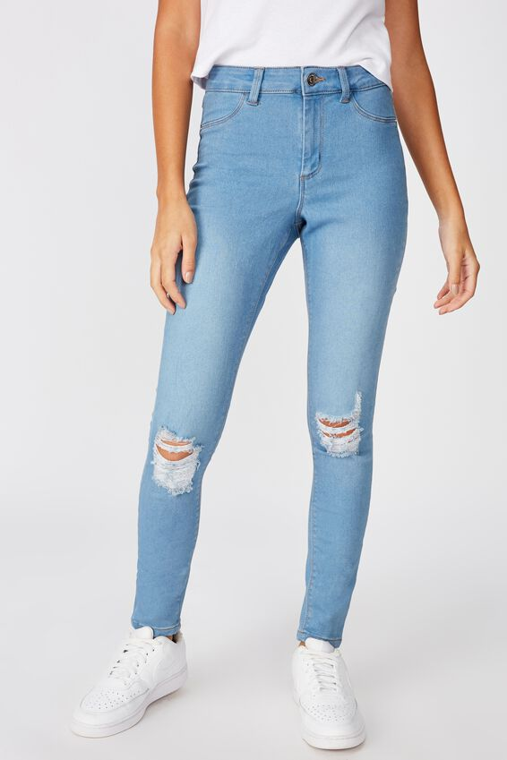 Short Leg Super Skinny Ripped Jean, WAVE BLUE