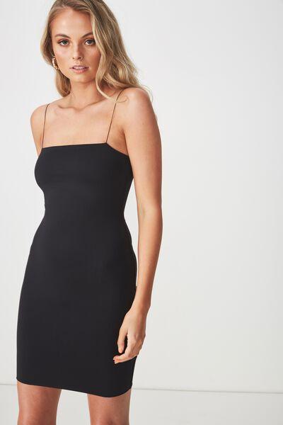 Luxe Elastic Strap Dress, BLACK