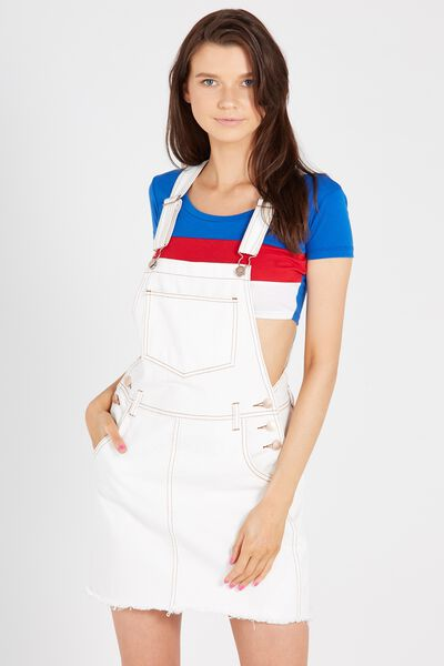 Distressed Short Pocket Denim Pinafore, WHITE CONTRAST
