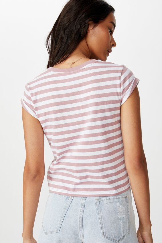 Baby Tee, RIA STRIPE(ANTIQUE ROSE/WHT)