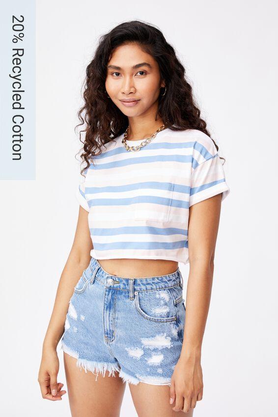 Ciara Crop T Shirt, KATE STRIPE (CH PNK/CRLN BL/WHT)