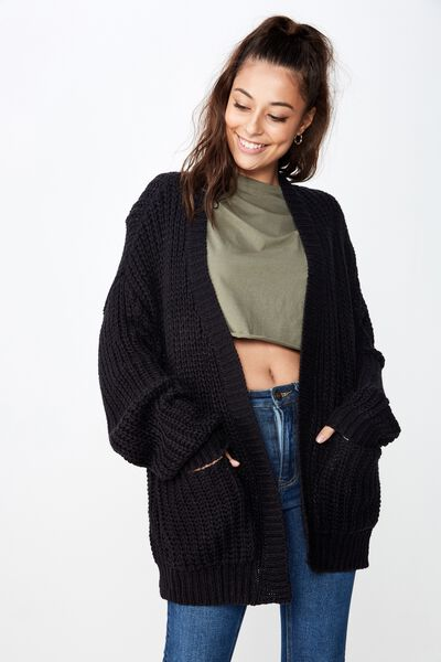 Grace Oversized Cardigan, BLACK
