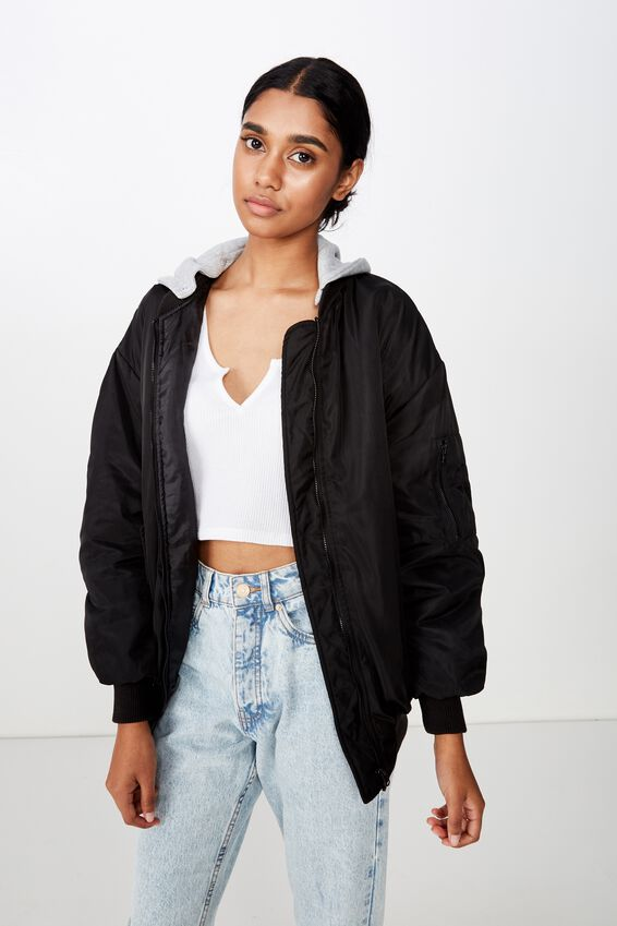 Cleo Bomber Jacket, BLACK/GREY MARLE HOOD