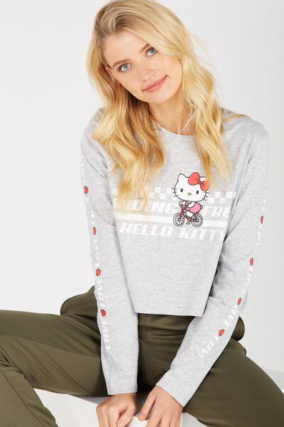 License Hello Kitty Printed Long Sleeve Crop, GREY MARLE/HELLO KITTY
