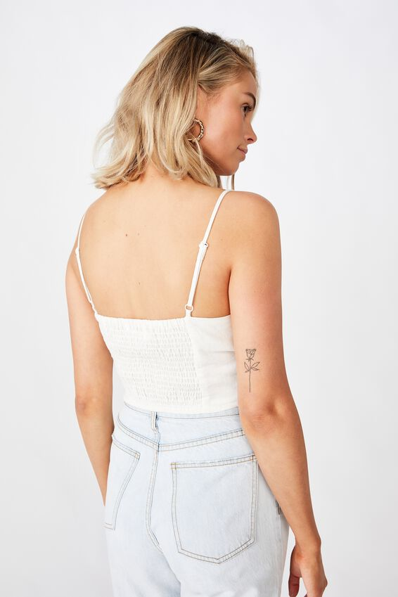Tessa Ruched Bustier Top, WHITE