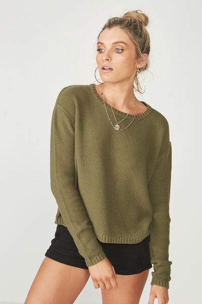 Alice Waffle Knit Top, LIGHT KHAKI