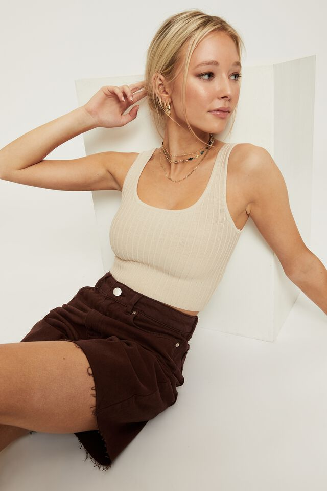Giselle Square Neck Crop Top, BEIGE BUFF